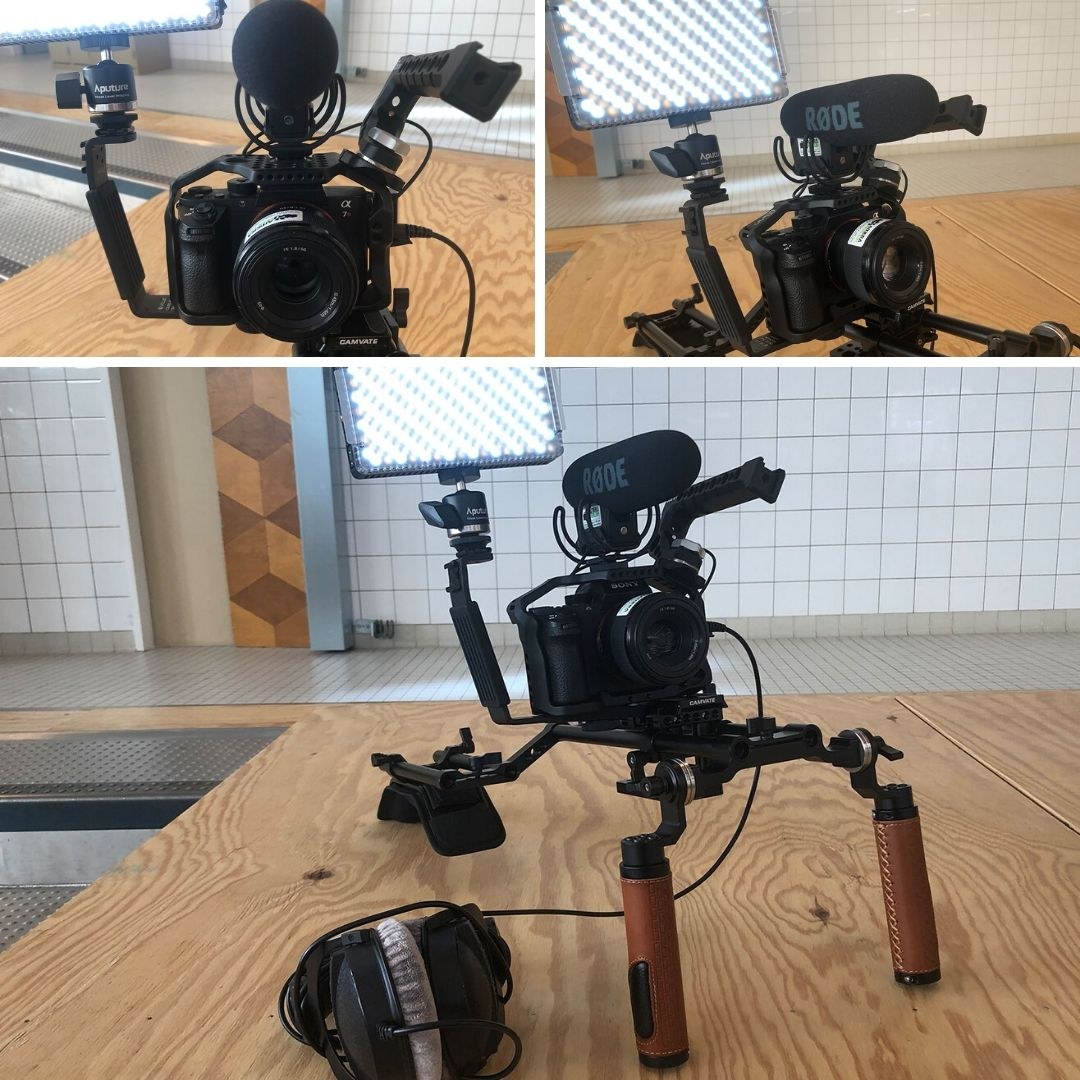 sony a7r video film reporter set vermietung cage schulterrig